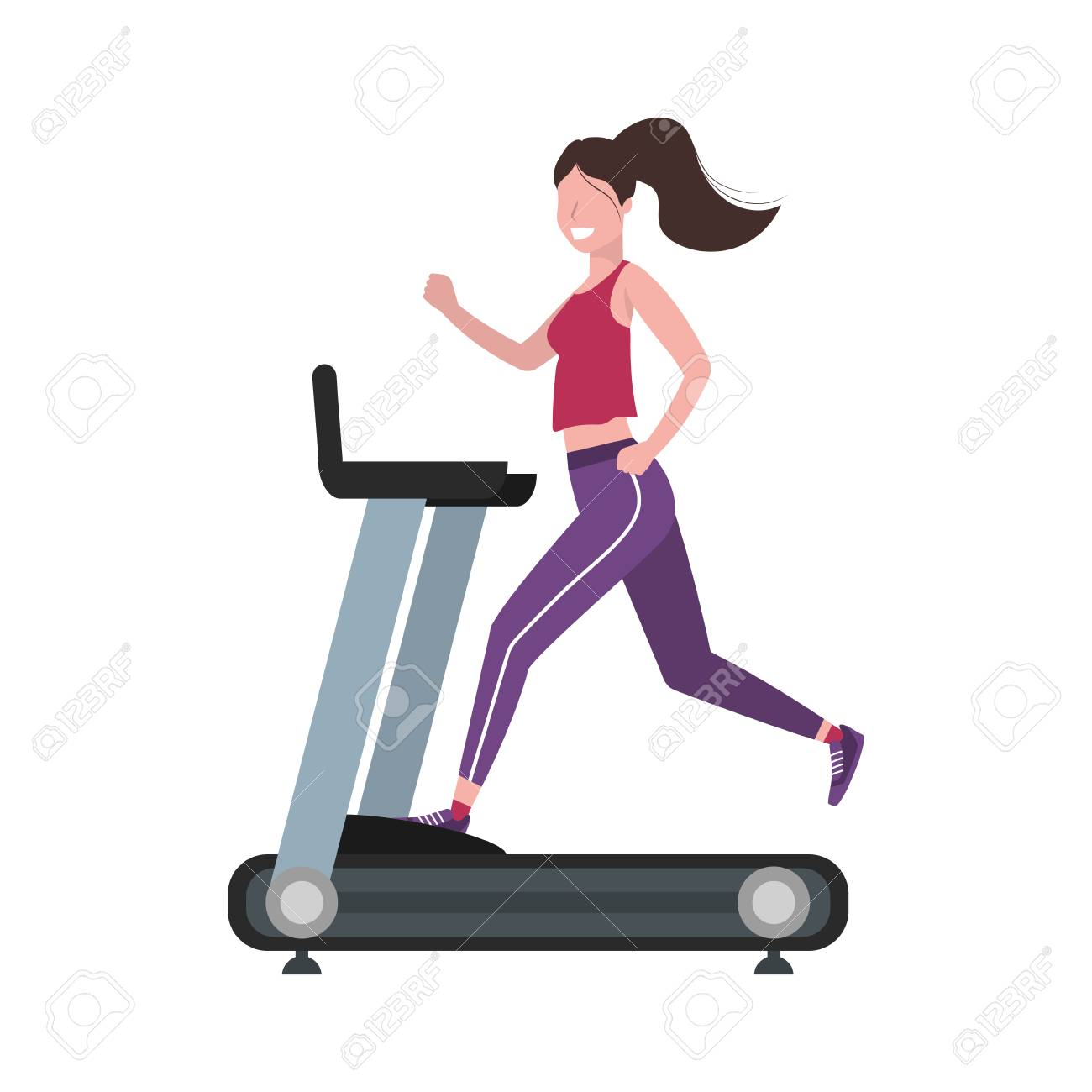 fitness exercise woman running over treadmill workout healthy fit lifestyle cartoon vector illustration graphic design - 122805135