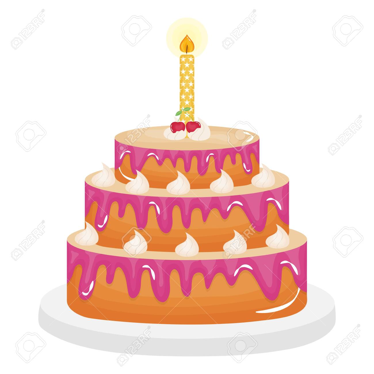 delicious sweet cake with cherries and candles vector illustration design - 122748228