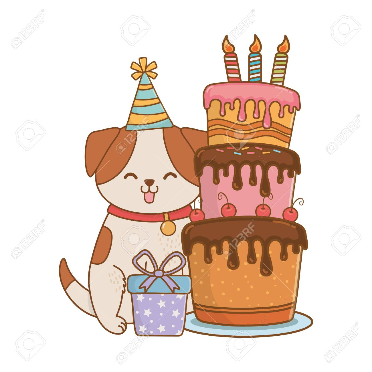 Cute Pet Little Animal Doggy Dog Birthday Party Concept Cartoon Royalty Free Cliparts Vectors And Stock Illustration Image 124570879