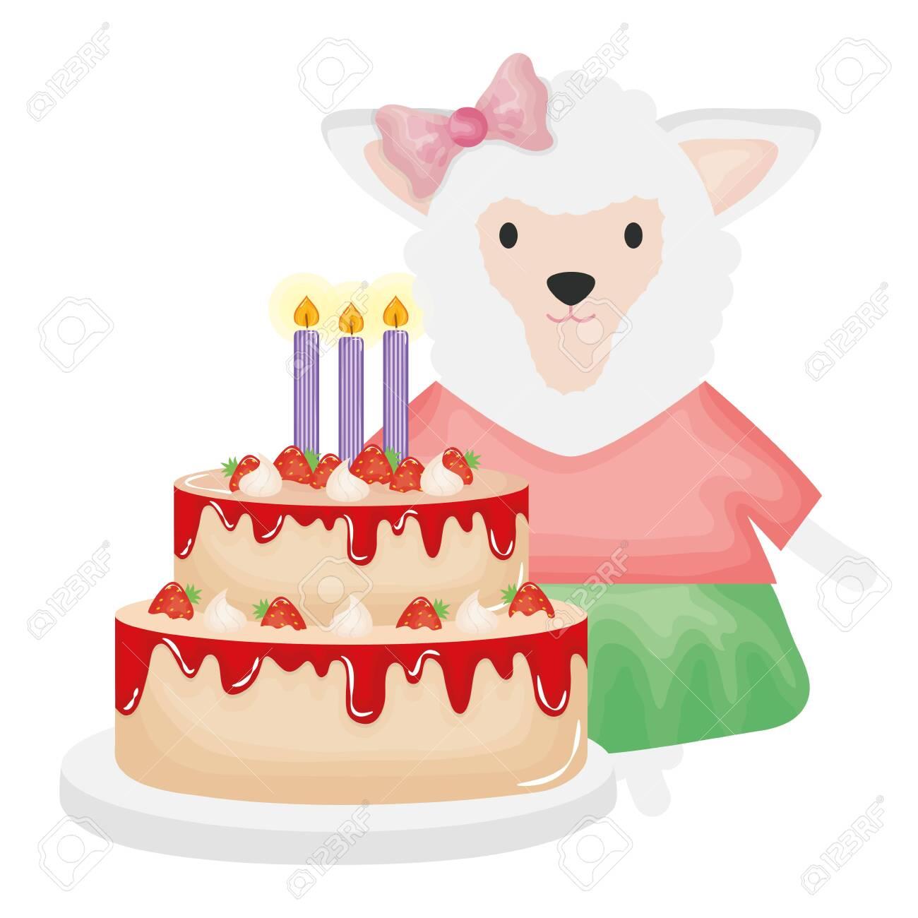 Sensational Cute Sheep With Sweet Cake In Birthday Party Vector Illustration Funny Birthday Cards Online Benoljebrpdamsfinfo
