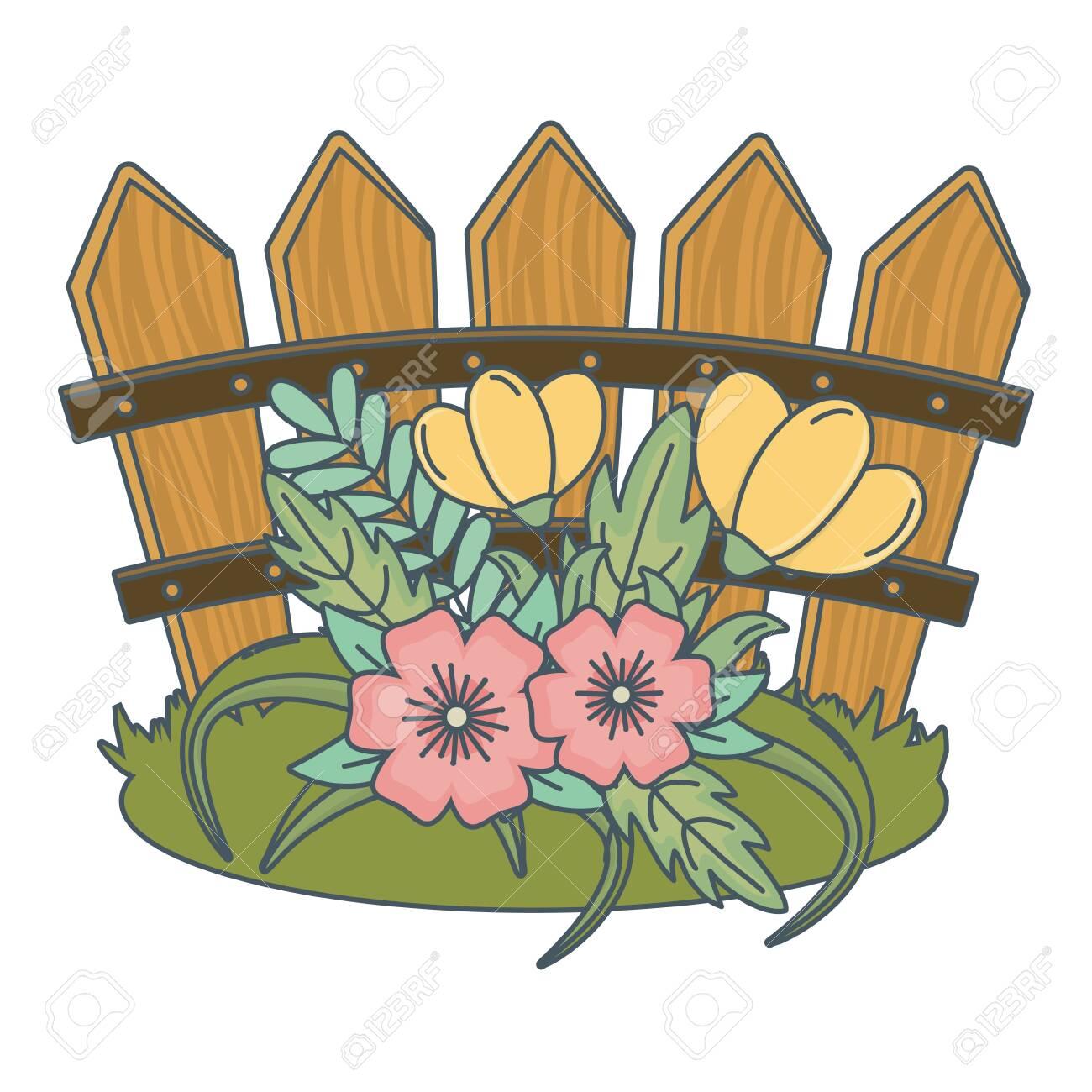Floral Nature Flowers Garden In Front Wooden Fence Cartoon Vector