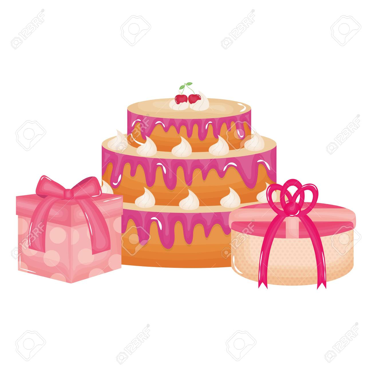 gifts boxes presents with sweet cake - 131268977