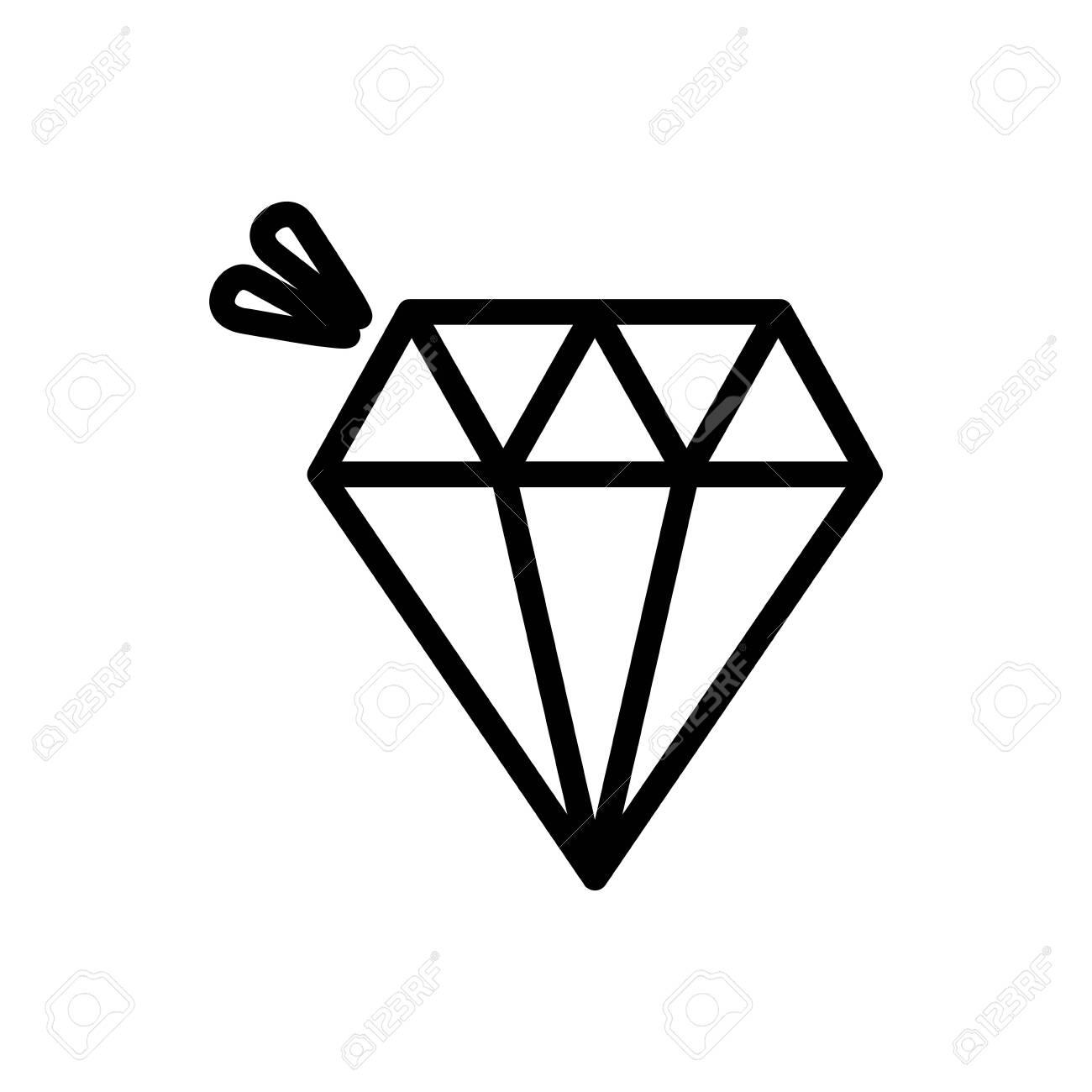 diamond jewelry luxury icon on white background thick line - 134447933