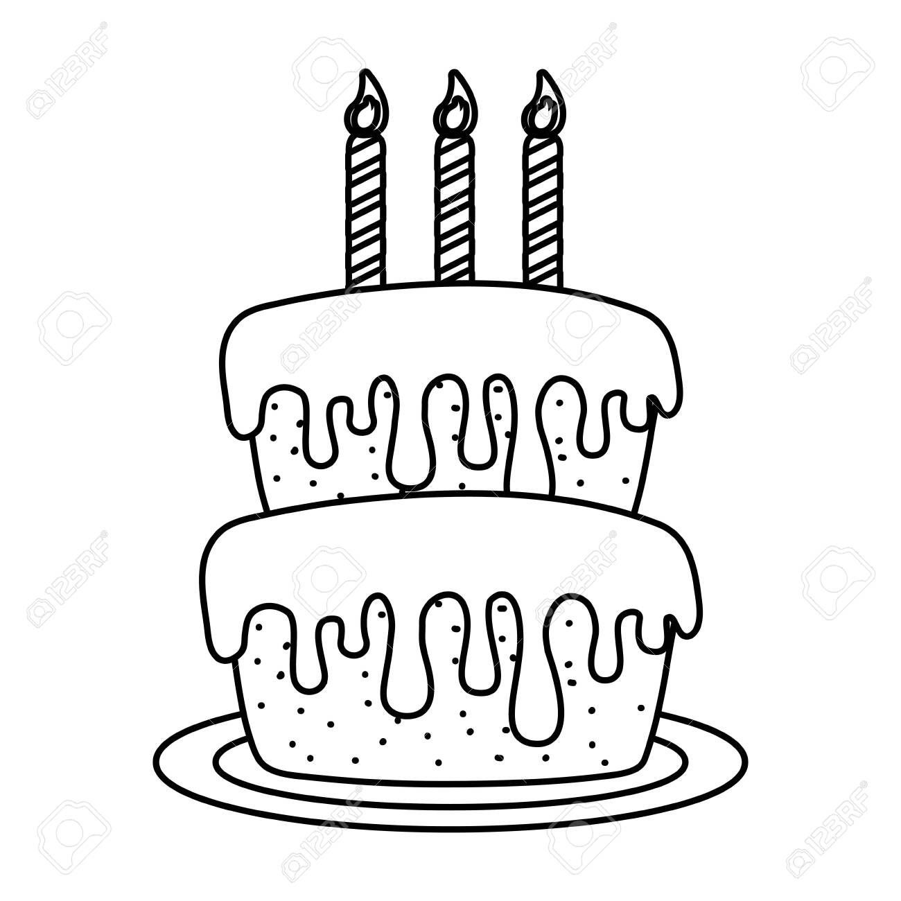 Birthday Cake With Candles Black And White Royalty Free Cliparts Vectors And Stock Illustration Image 134750458