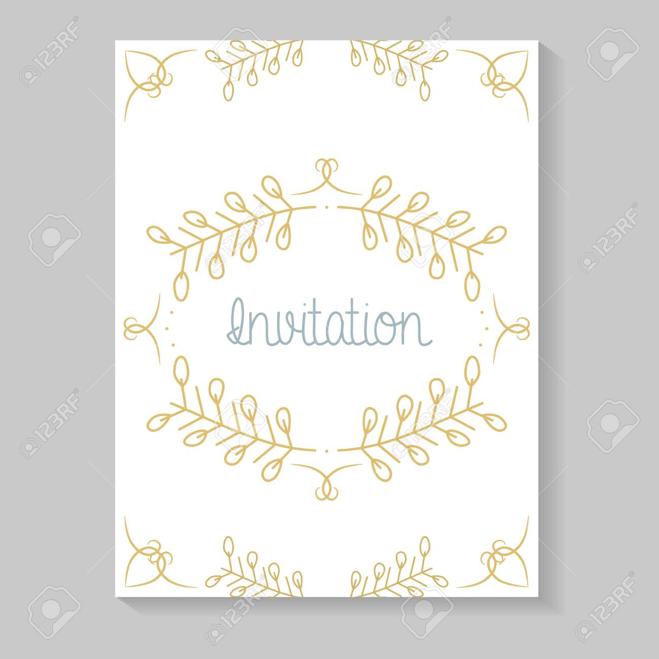 invitation card with leafs golden calligraphy - 136365486