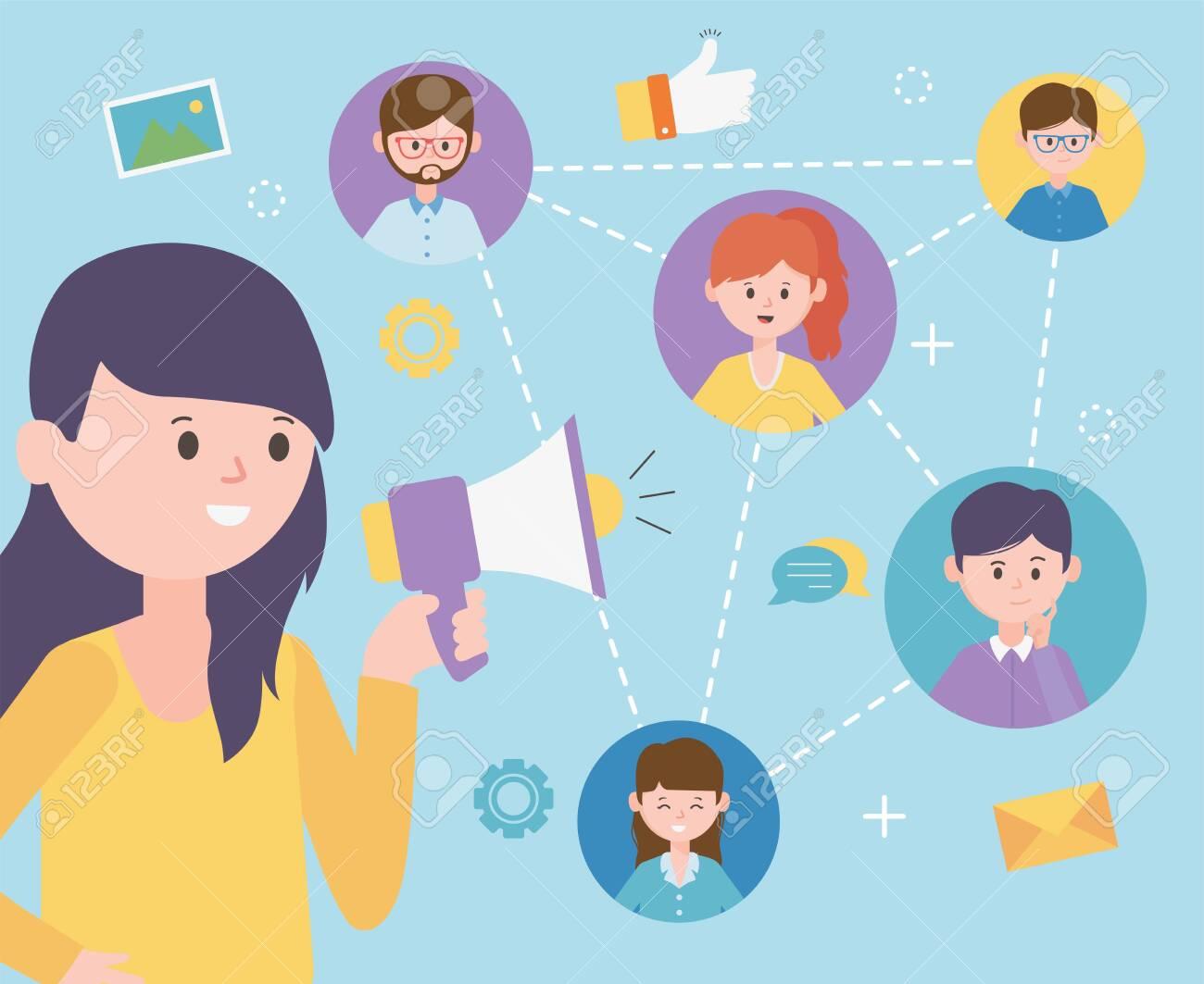 woman talking speaker advertising group people network social media - 136720531