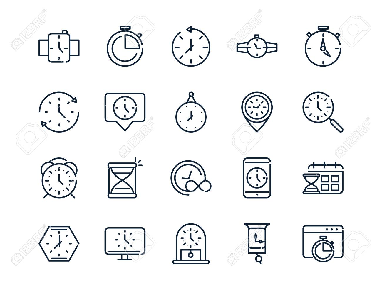 time clock timer hour date linear design set icons - 137773698
