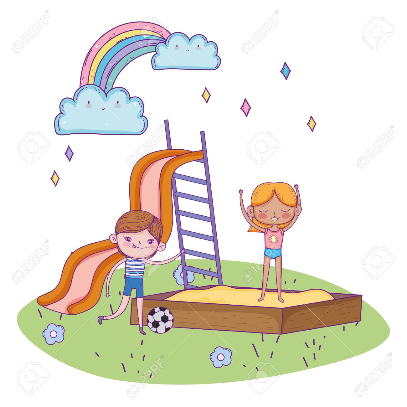happy childrens day, boy with soccer ball and girl in sandbox playground vector illustration - 140015489