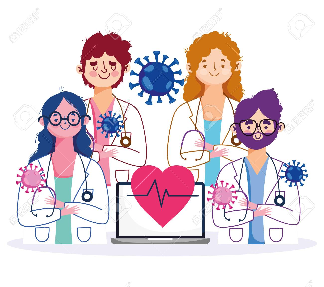 online health, staff female and male doctors with laptop and stethoscope characters vector illustration covid 19 pandemic - 143200403