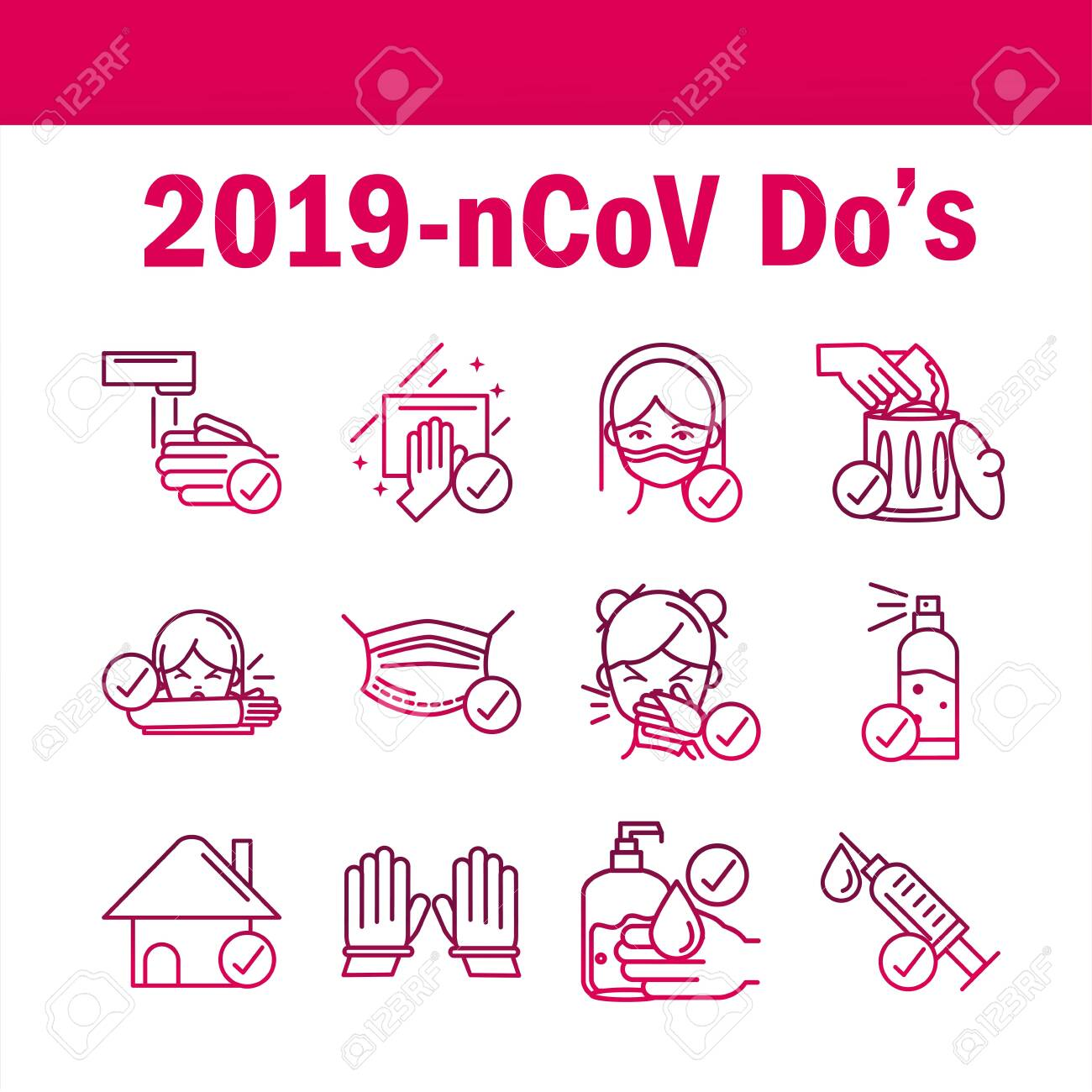 avoid and prevent spread of covid19 icons set gradient icon - 143311407