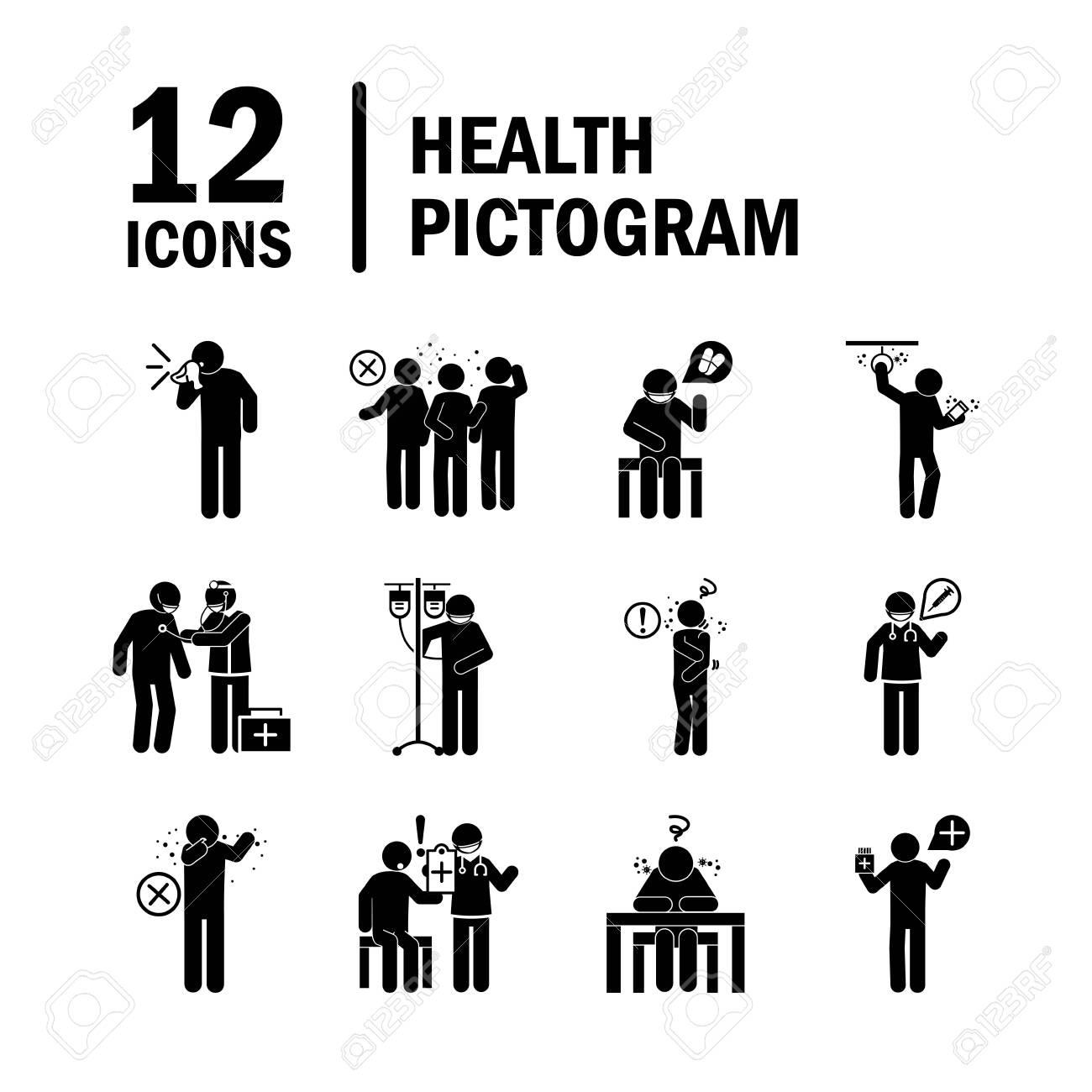 coronavirus covid 19, health pictogram, prevention, symptoms, medical icons set , silhouette style icon - 145247889