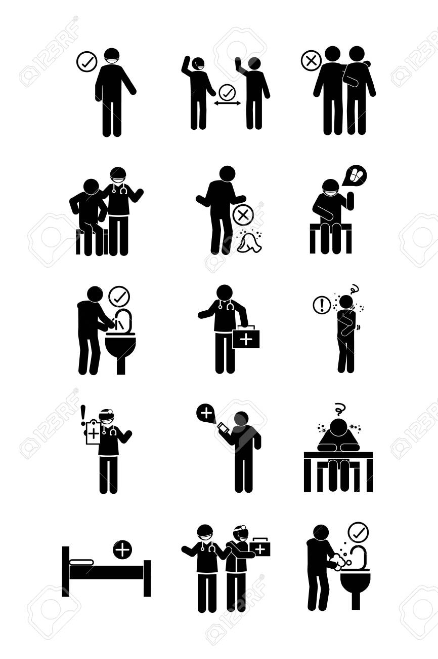 coronavirus covid 19, health pictogram, prevention, symptoms, medical icons set , silhouette style icon - 145248721