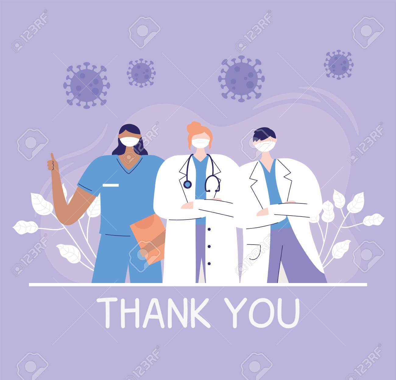 thank you doctors and nurses, physicians and nurse staff hospital team - 145254292