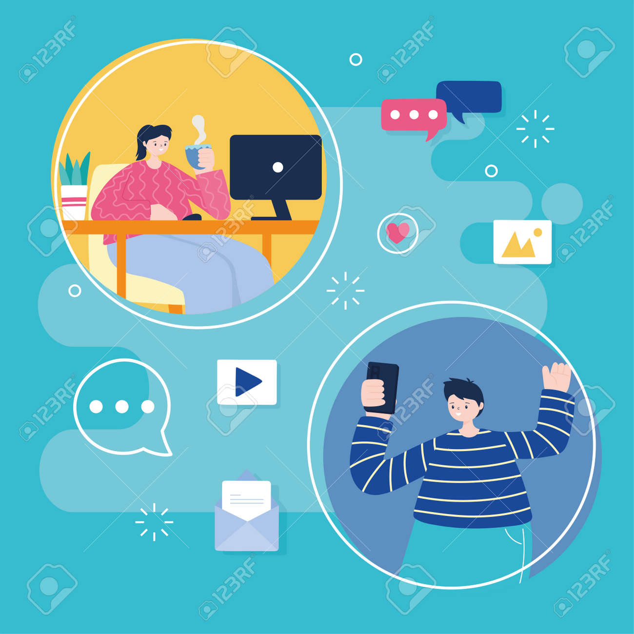 young man with mobile and woman with laptop networking and social media - 147673116