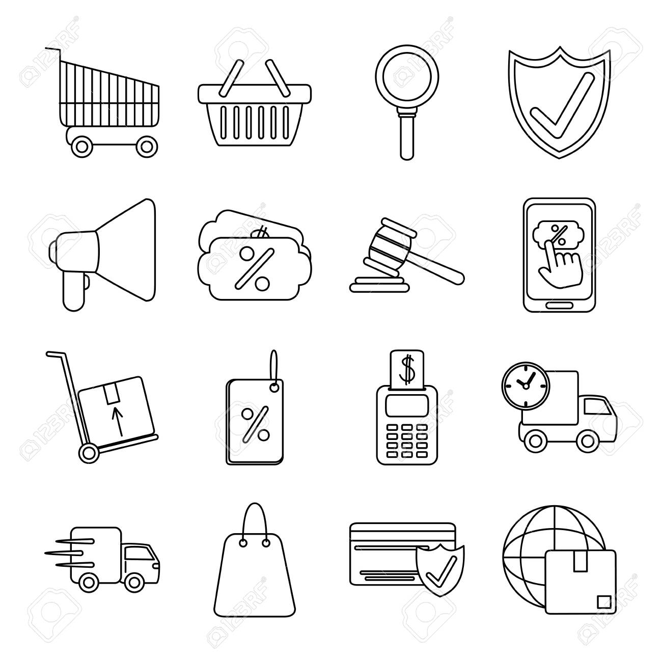 online shopping mobile marketing and e-commerce icons set line style vector illustration - 147961164