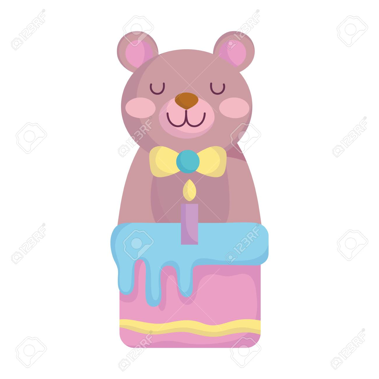 baby shower, cute bear with cake candy cartoon, announce newborn welcome card vector illustration - 148843928