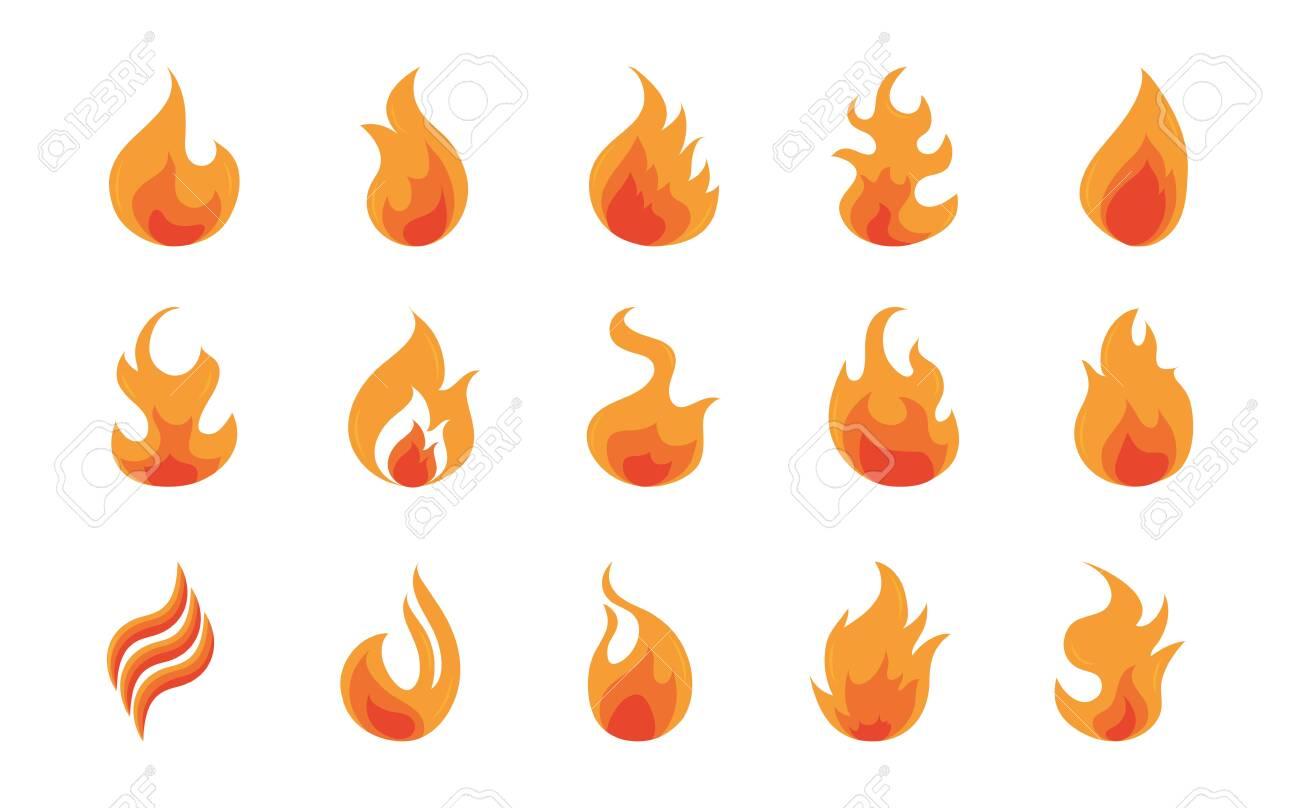 fire flame burning hot glow flat design icons set white background vector illustration - 150914663