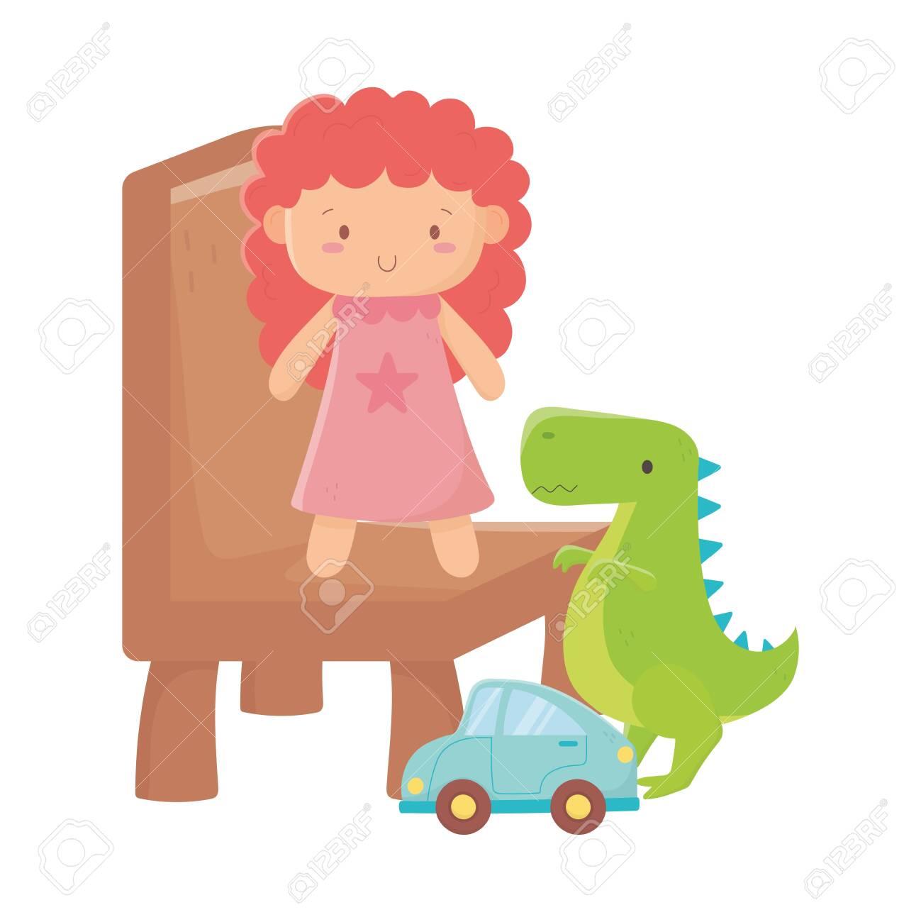 kids toys doll on chair dinosaur and car object amusing cartoon vector illustration - 152441337