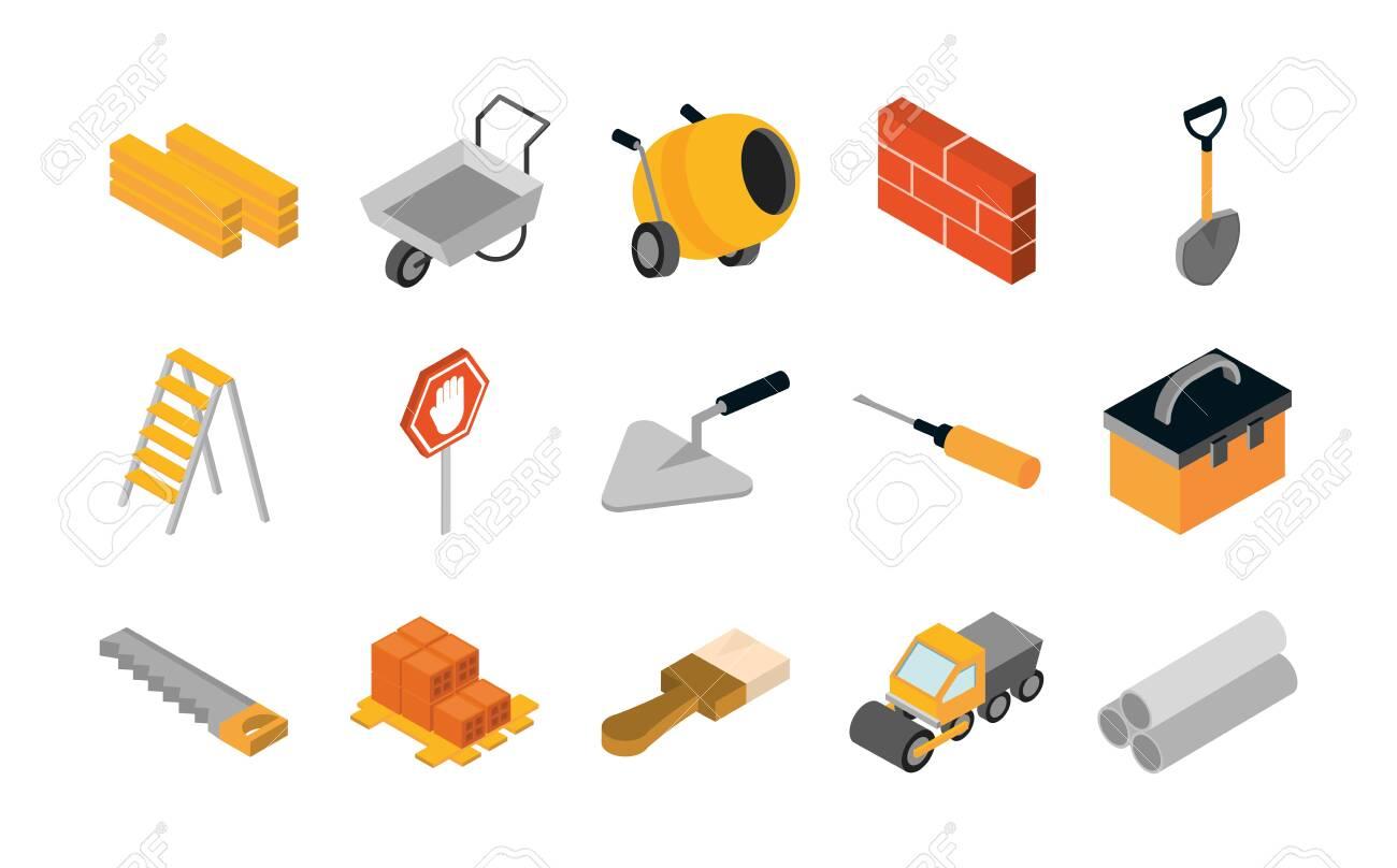 isometric repair construction work tool and equipment wheelbarrow spatula saw truck shovel flat style icons set vector illustration - 152962378