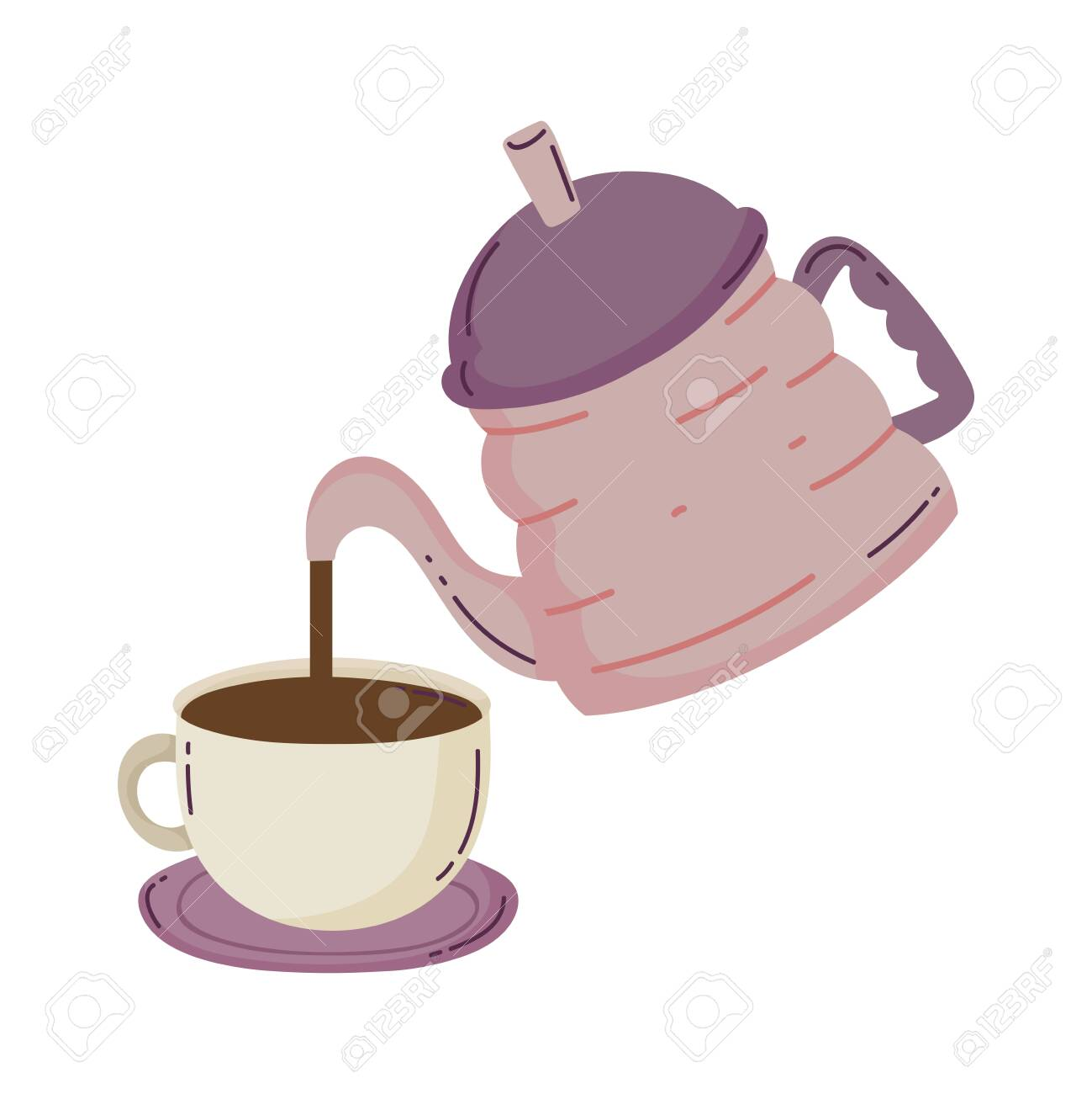 Coffee Brewing Methods Kettle Pouring Coffee Cup On Saucer Vector Royalty Free Cliparts Vectors And Stock Illustration Image 157290158