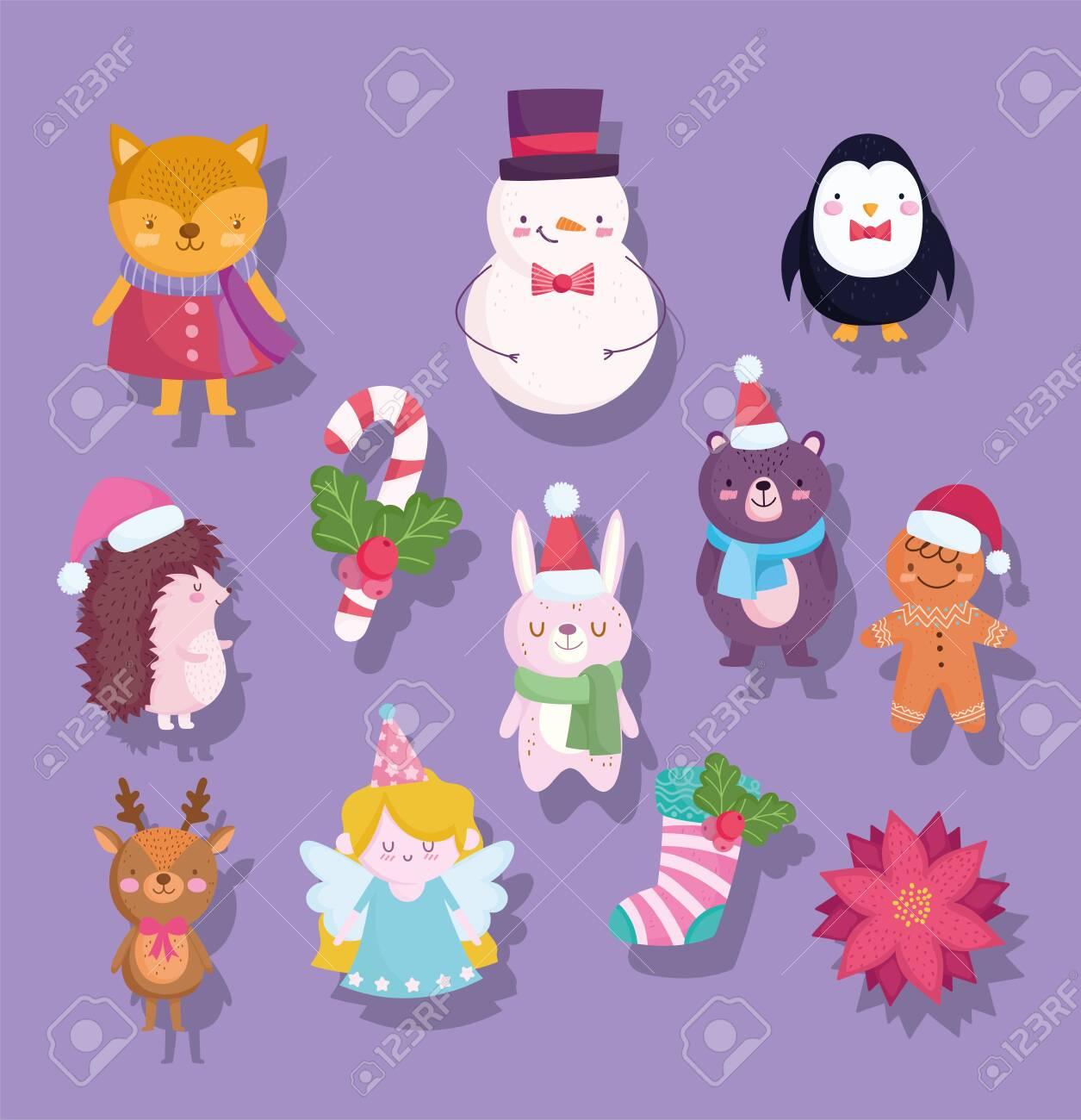 merry christmas, cute snowman bear penguin deer bunny fox flower sock cartoon icons vector illustration - 157964988