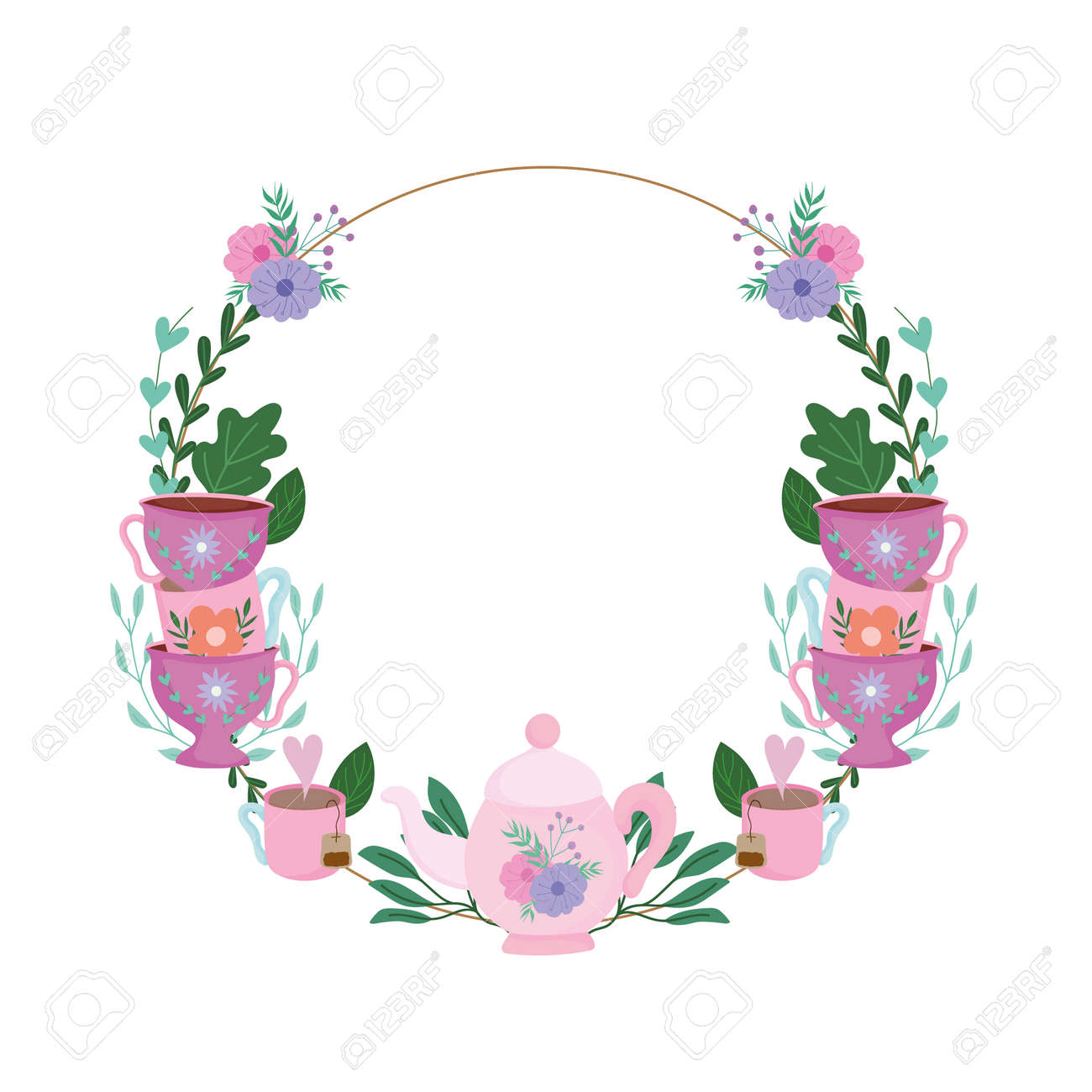 Tea time, floral wreath cups decoration flowers and leaves vector illustration - 162619742