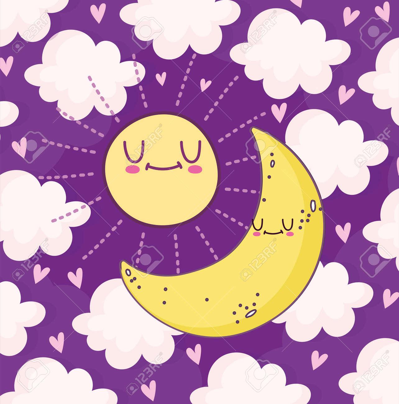cute moon and sun - 171587086