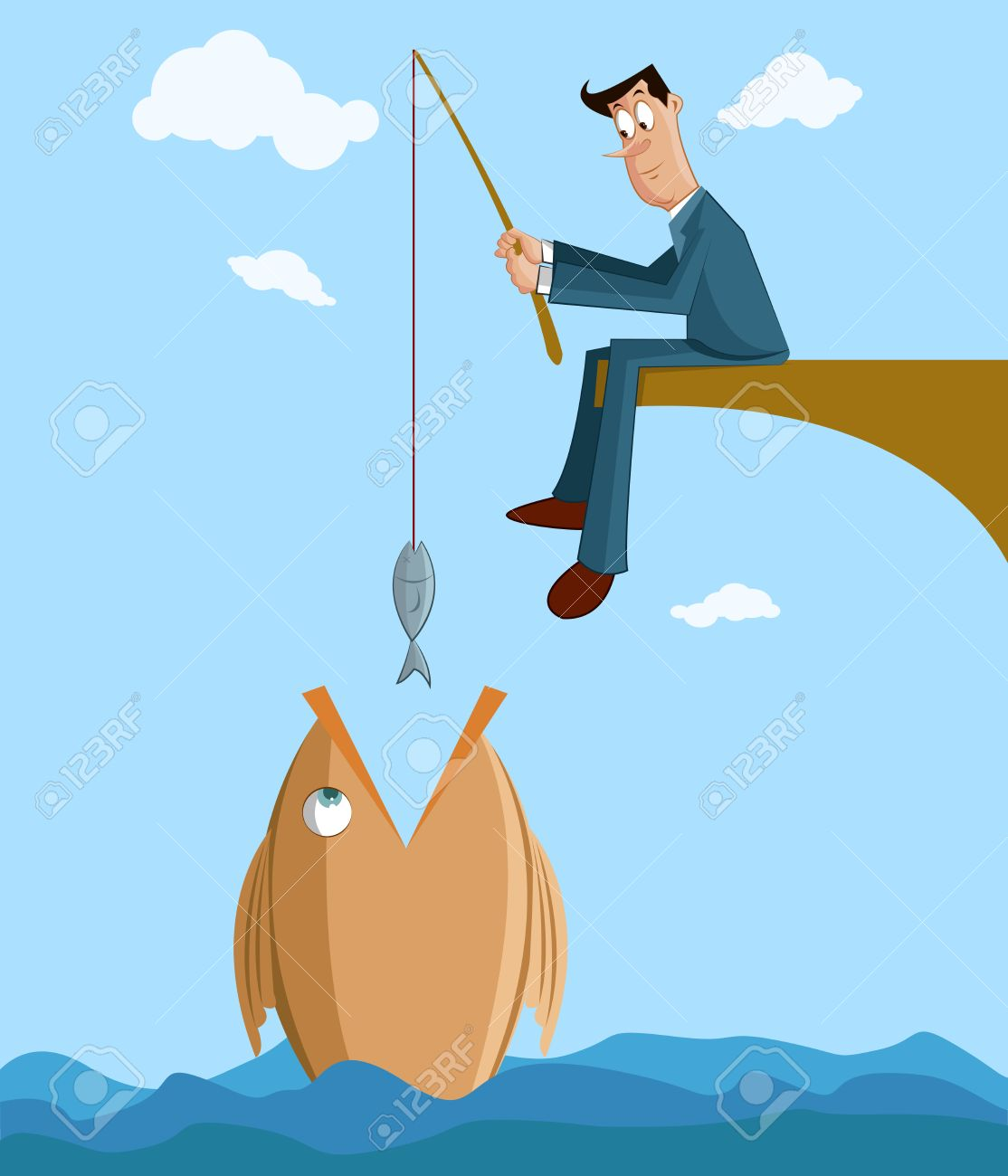 businessman catching big fish with small fish in fishing rod, Fishing Rod