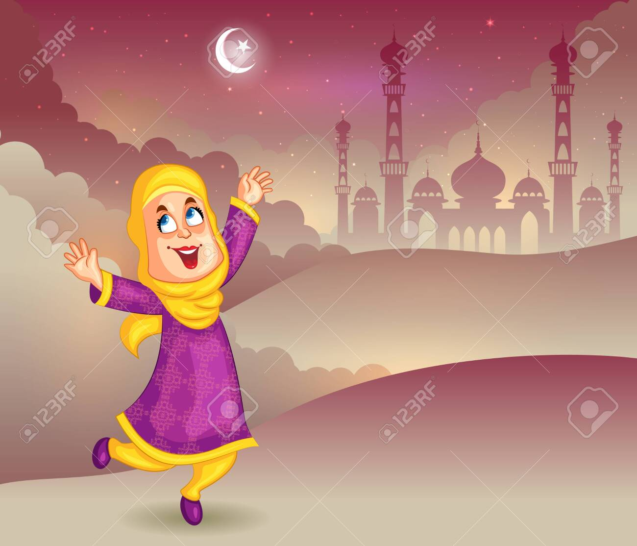 Happy muslim girl wishing Eid mubarak   IMAGES, GIF, ANIMATED GIF, WALLPAPER, STICKER FOR WHATSAPP & FACEBOOK