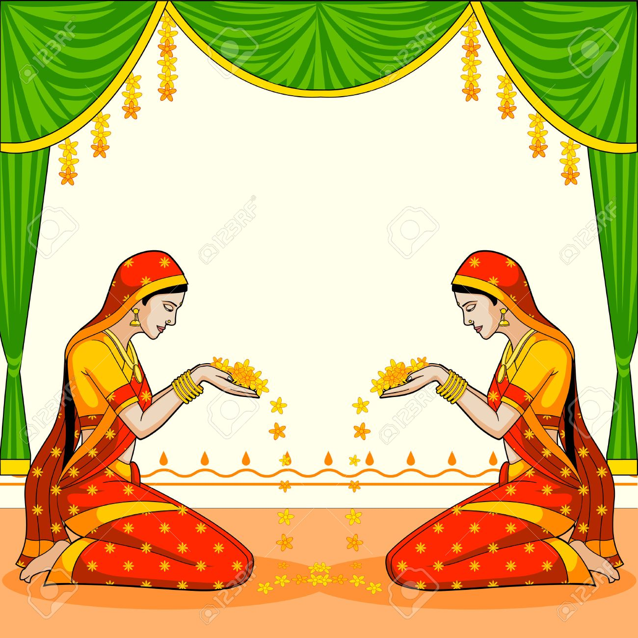indian woman welcoming with flower royalty free cliparts vectors
