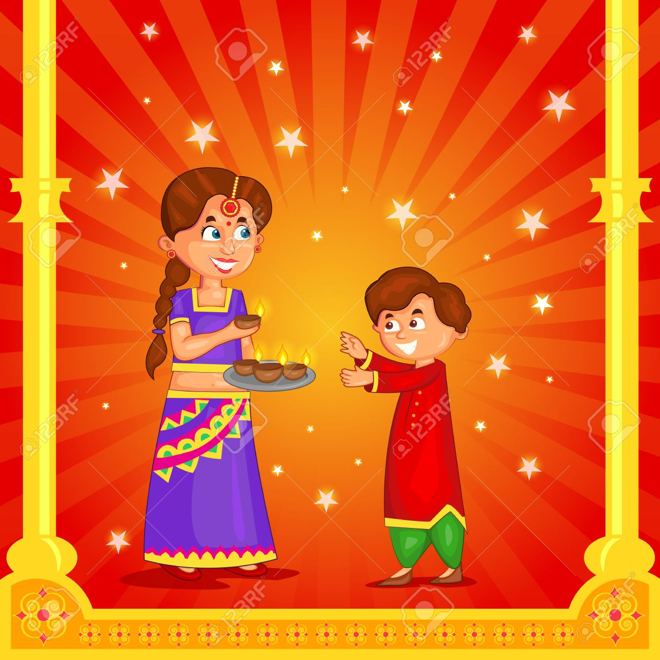 Kids With Diya Celebrating Diwali In Vector Royalty Free Cliparts ... for Deepavali Celebration Clipart  110zmd