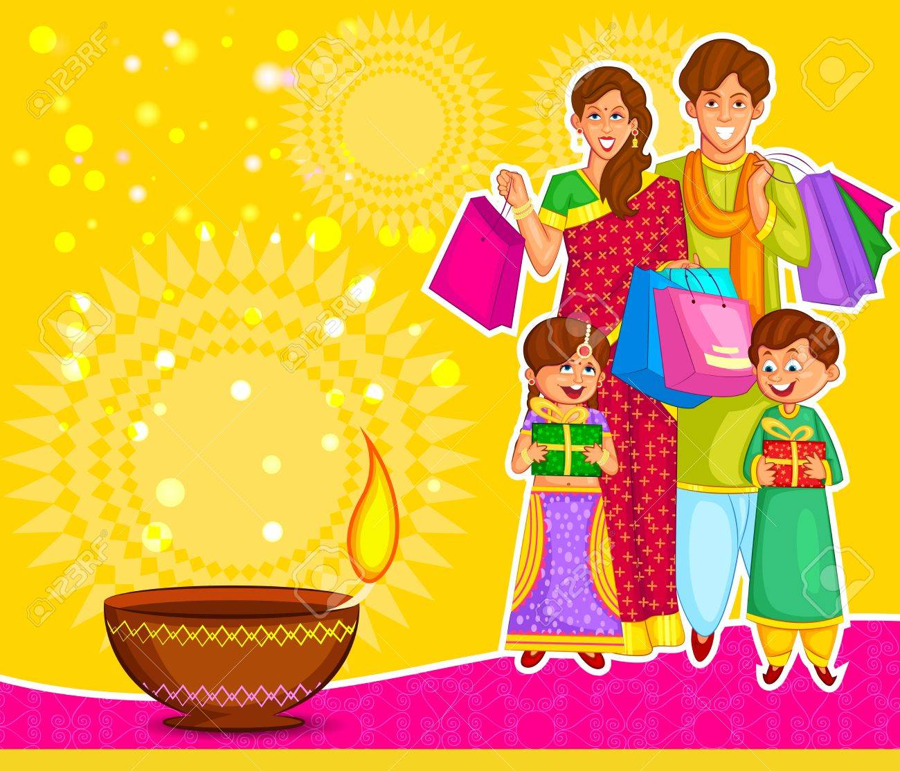 Family Is Celebrating Diwali With Gifts In Vector Royalty Free ... for Deepavali Celebration Clipart  56bof