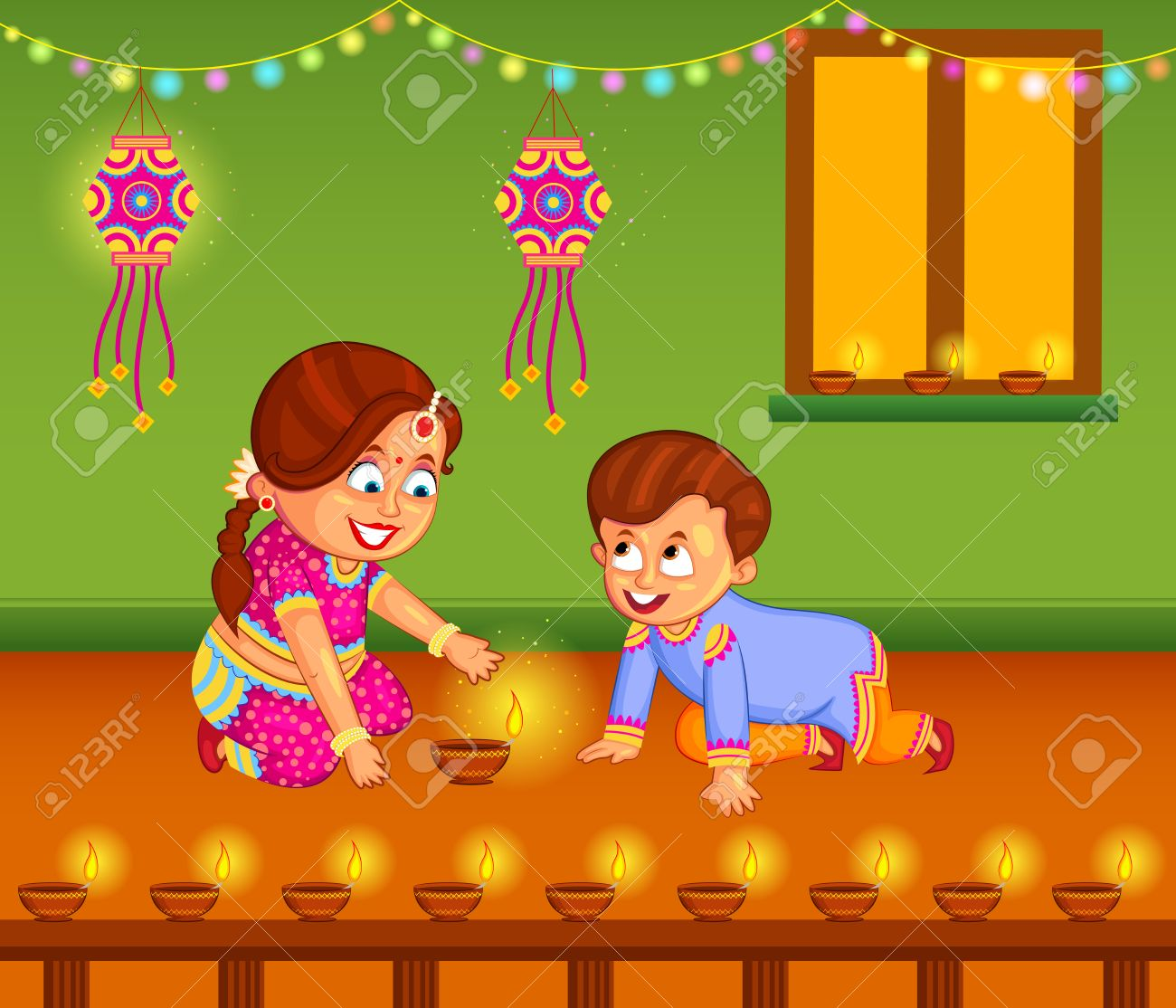 Kids With Diya Celebrating Diwali In Vector Royalty Free Cliparts ... for Deepavali Celebration Clipart  195sfw