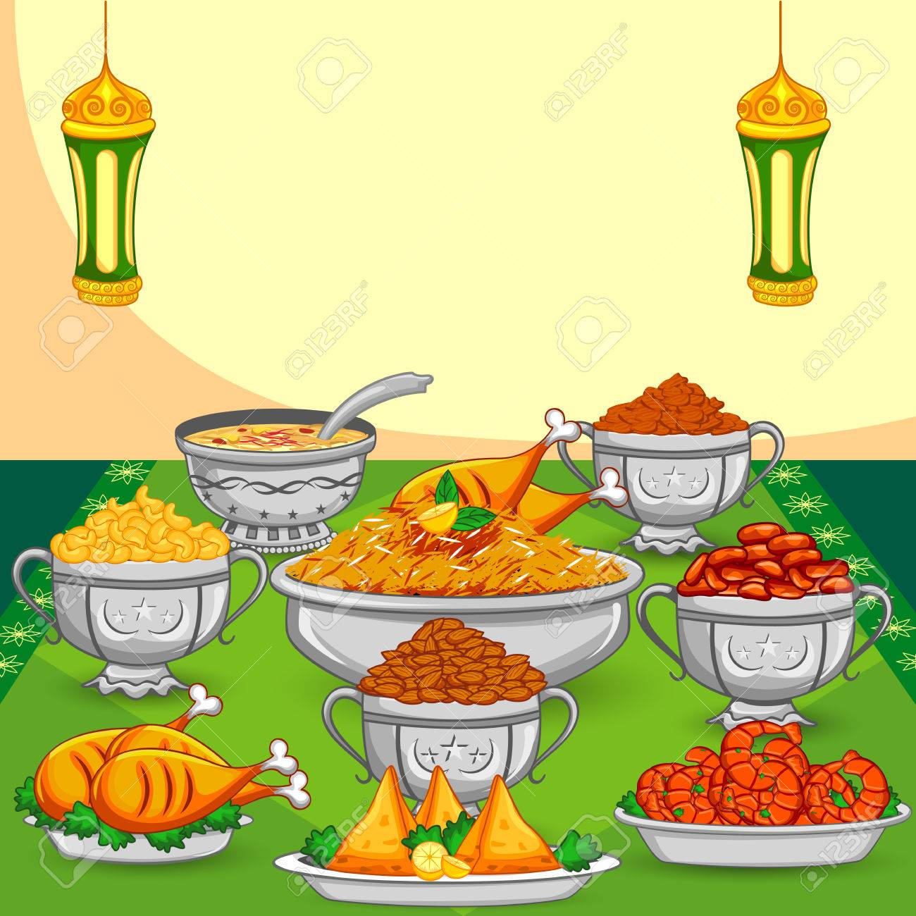 Ramadan Iftar Food For Eid Celebration In Vector Royalty Free ... for Ramadan Iftar Clipart  181obs
