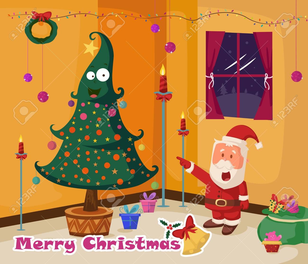 Santa claus with gift for merry christmas holiday greeting card santa claus with gift for merry christmas holiday greeting card background in vector stock vector kristyandbryce Gallery