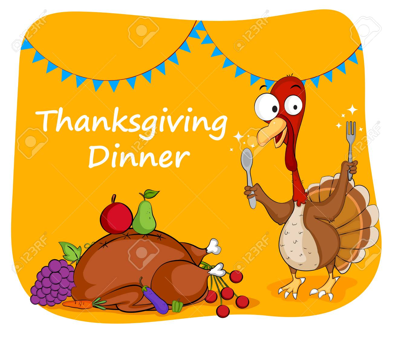 Happy Thanksgiving Holiday Greeting Card In Vector Royalty Free