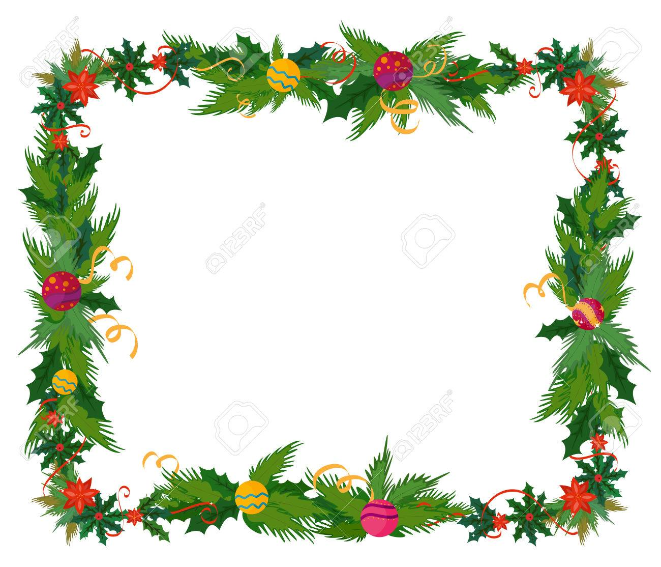 Merry Christmas Celebration Border And Decoration Frame In Vector ...