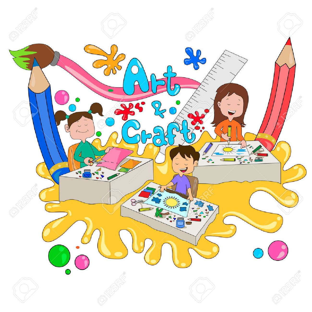 Children enjoying summer camp art and craft activities in vector - 54406070