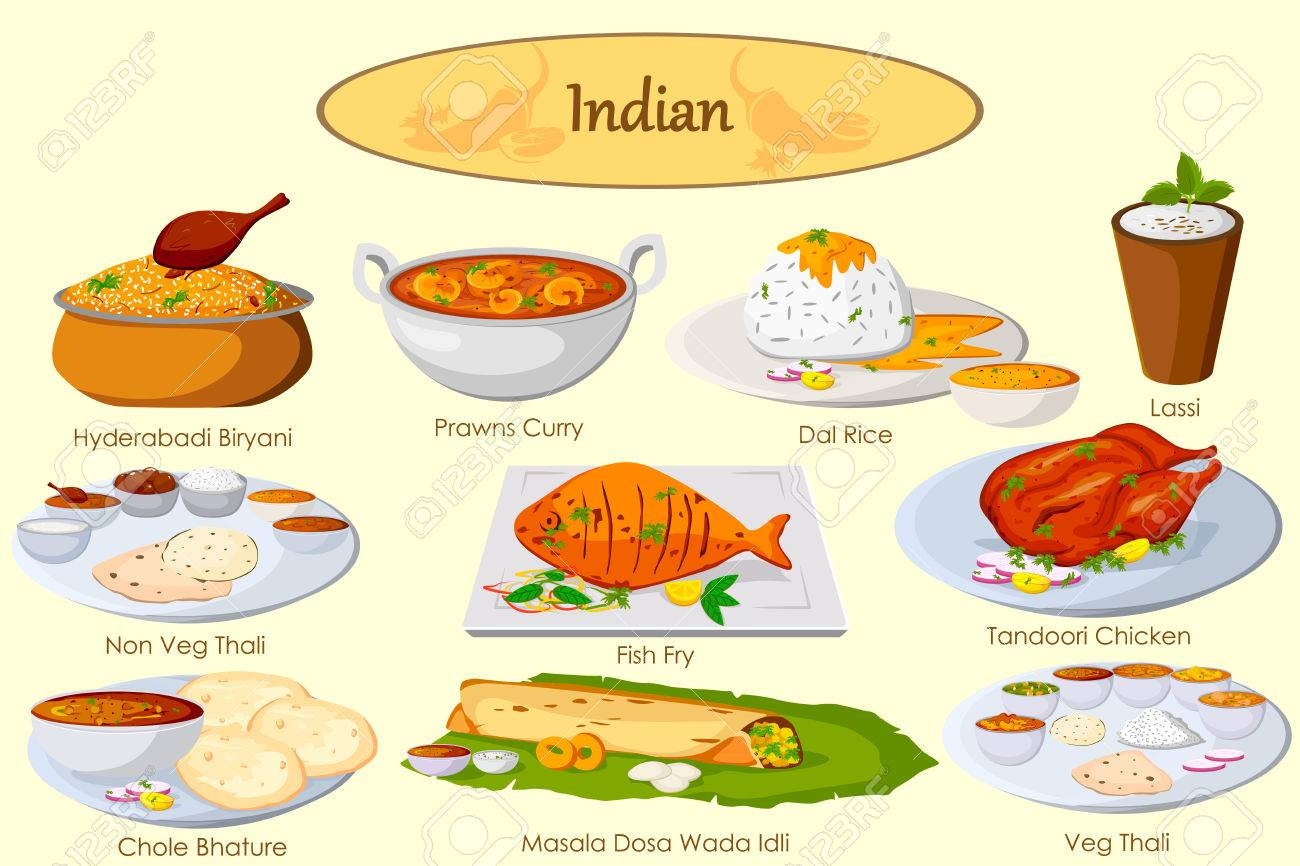 Collection Of Delicious Indian Food In Vector Royalty Free Cliparts Vectors And Stock Illustration Image 54439922