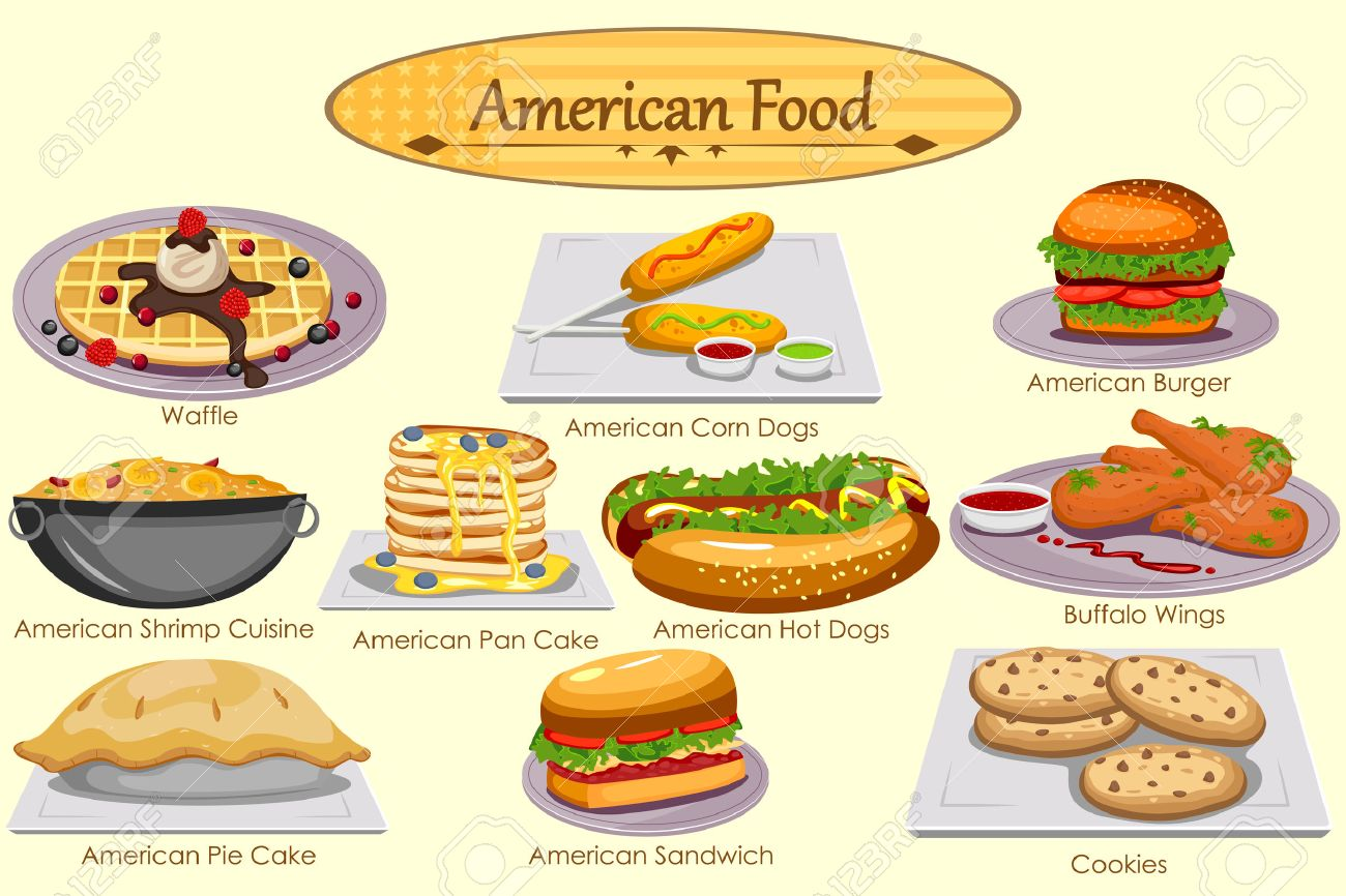 Collection Of Delicious American Food In Vector Royalty Free