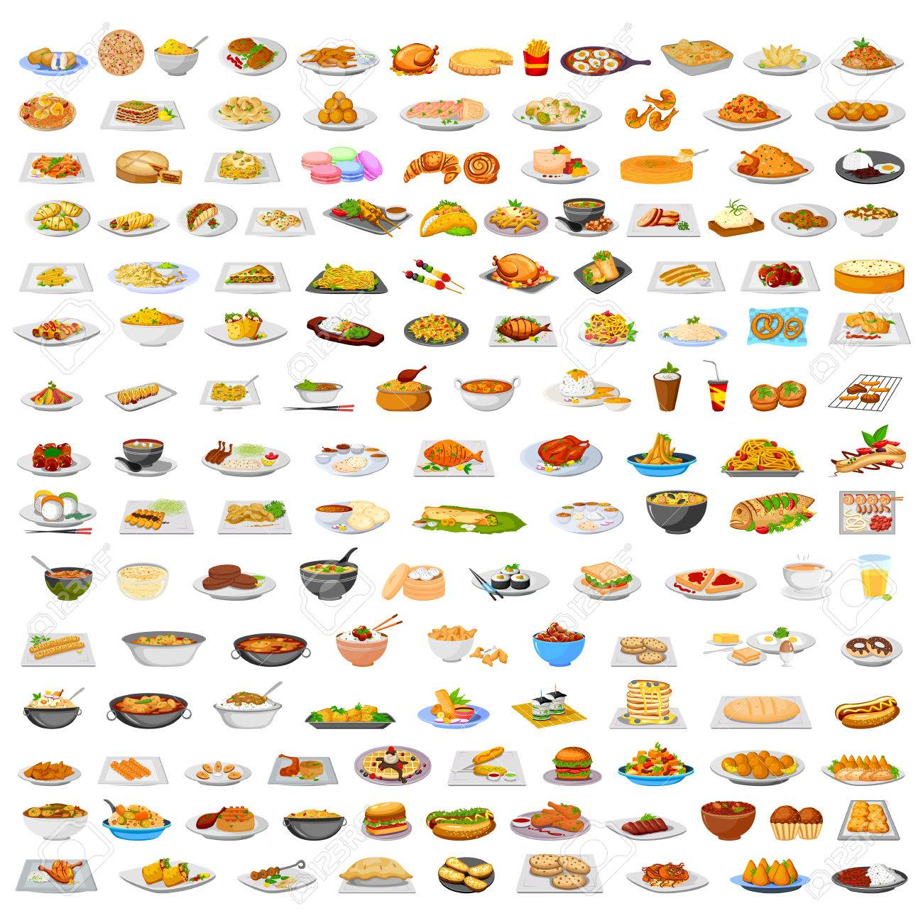 collection of delicious food from around the world in vector royalty