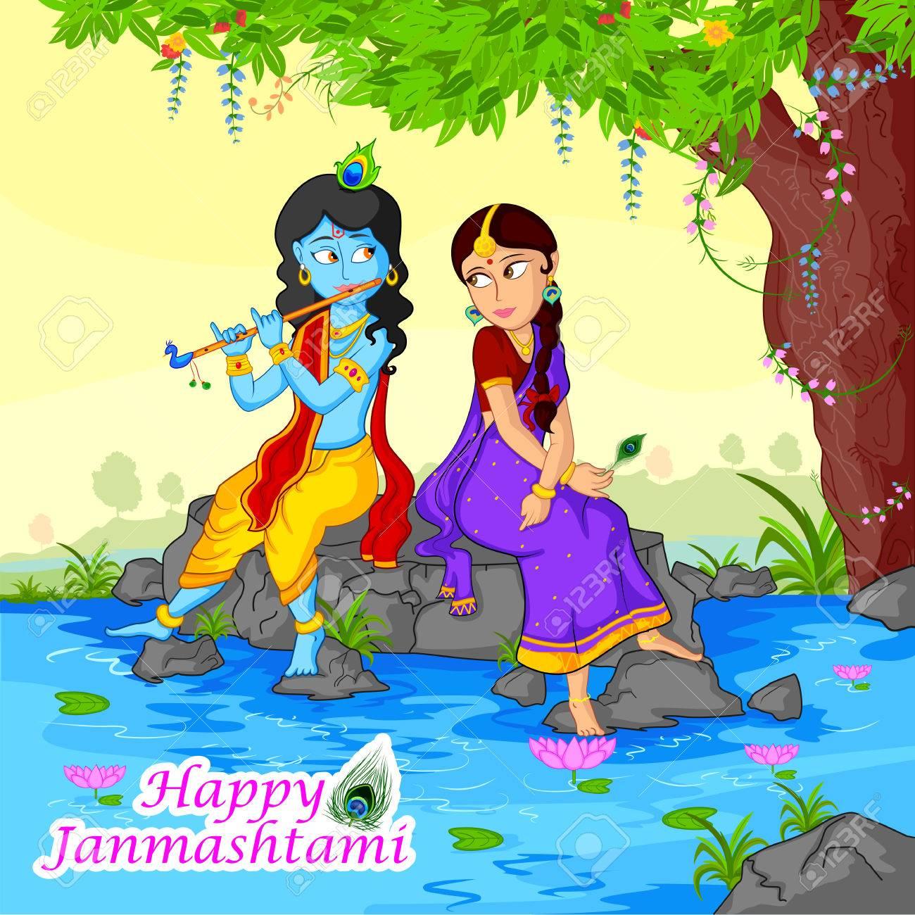 Krishna playing flute with Radha on Janmashtami background in