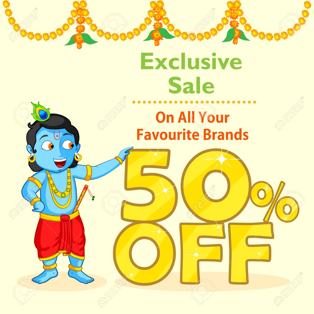 krishna janmashtami sale background in vector royalty free cliparts