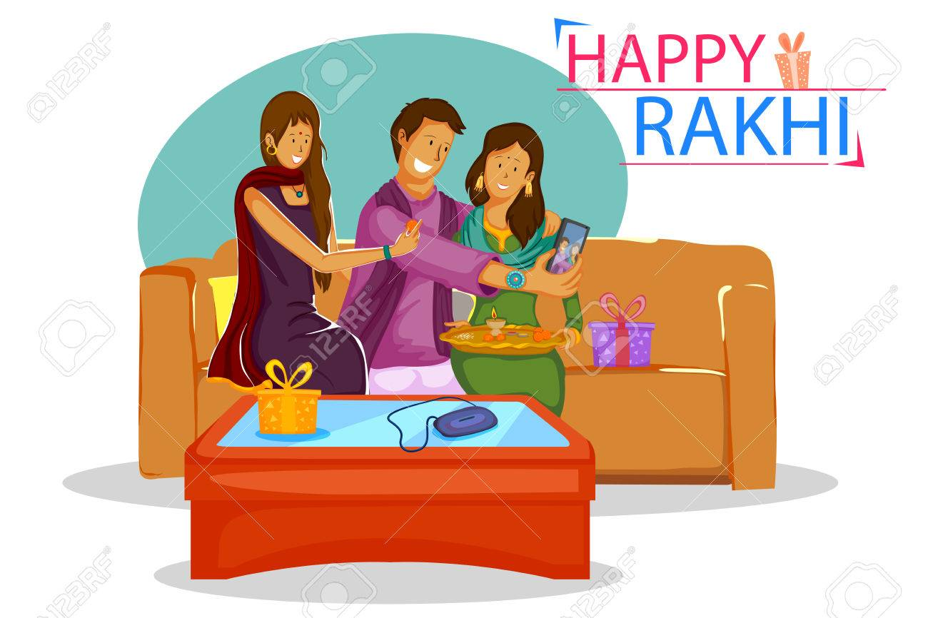 Brother and Sister tying Rakhi on Raksha Bandhan in vector - 61041543