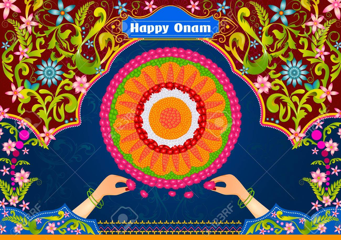 Colorful Pookalam Flower Rangoli For Happy Onam In Vector Stock