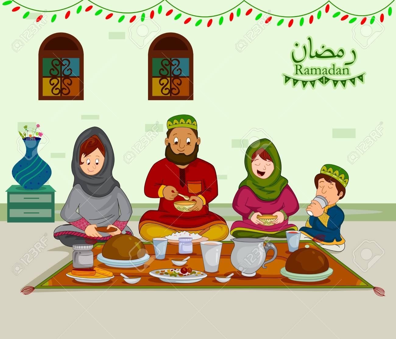 Happy Muslim Family Enjoying Iftar For Eid Celebration On Ramadan ... for Ramadan Iftar Clipart  146hul