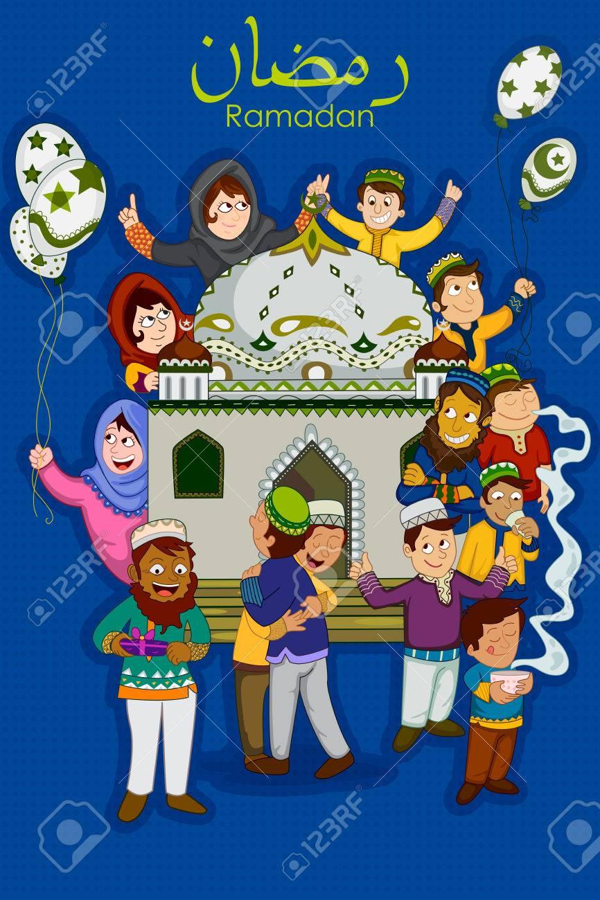 Muslim families wishing eid mubarakhappy eid on ramadan royalty muslim families wishing eid mubarakhappy eid on ramadan stock vector 80035972 m4hsunfo