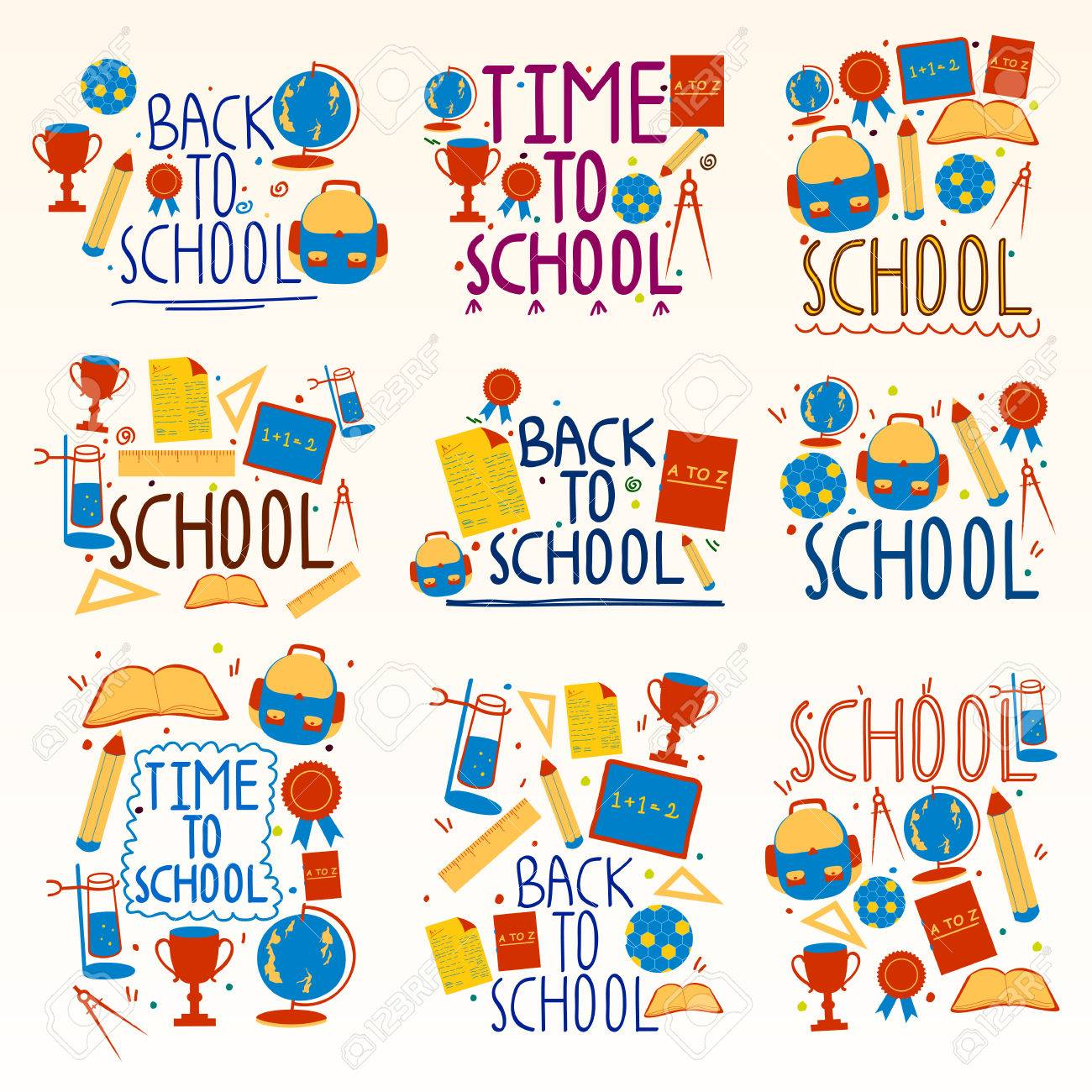Back To School Collage Composition Royalty Free Cliparts Vectors