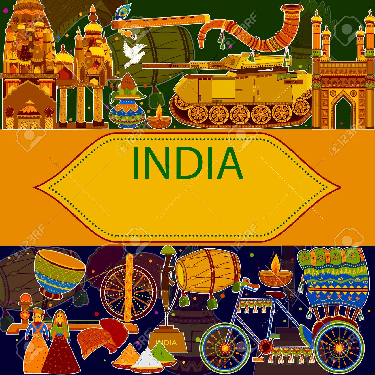 Incredible India background depicting Indian colorful culture