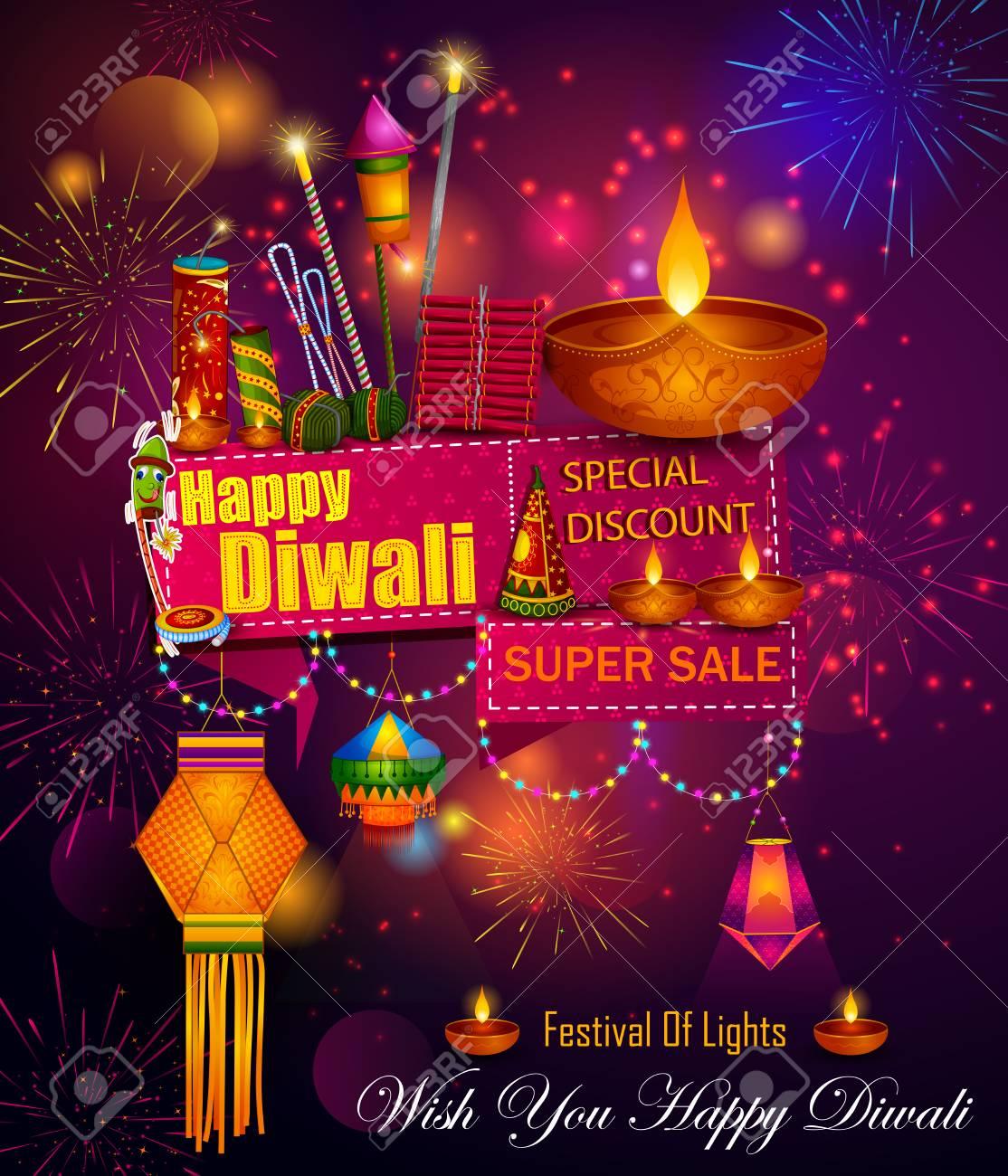 Happy Diwali Light Festival Of India Greeting Advertisement Sale